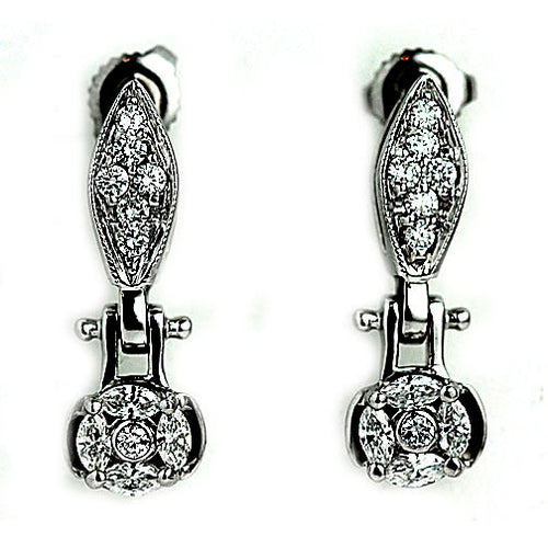 1.20 Carat Vintage Diamond Drop Earrings Circa 1970's