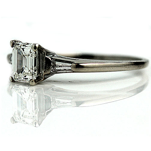 Mid-Century .88 Carat Emerald Cut Diamond Ring GIA J VS1
