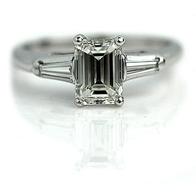 1970s 1.26 ct Emerald Cut Diamond Engagement Ring
