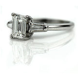 Mid-Century 1.26 Carat GIA Emerald Cut Diamond Ring I SI1
