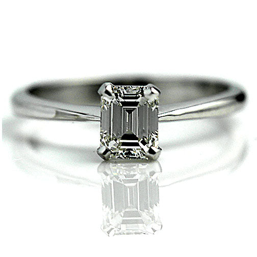 Estate .81 Carat GIA Emerald Cut Diamond Ring