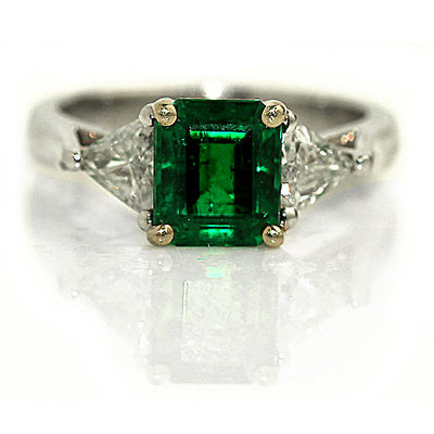 Vintage Emerald & Diamond Engagement Ring - Vintage Diamond Ring