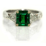 Mid Century 1.60 Carat Emerald Diamond Ring