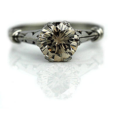 Vintage Fancy Brown Diamond Solitaire Engagement Ring