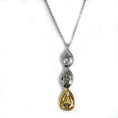 1.02 Carat Pear Shape Fancy Intense Yellow Diamond Necklace