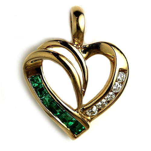 Vintage Emerald Diamond Heart Pendant