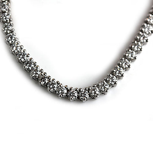 12.50 Carat Vintage Graduated Round Diamond Gold Necklace