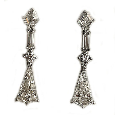 Vintage Kite Shape Diamond Drop Earrings