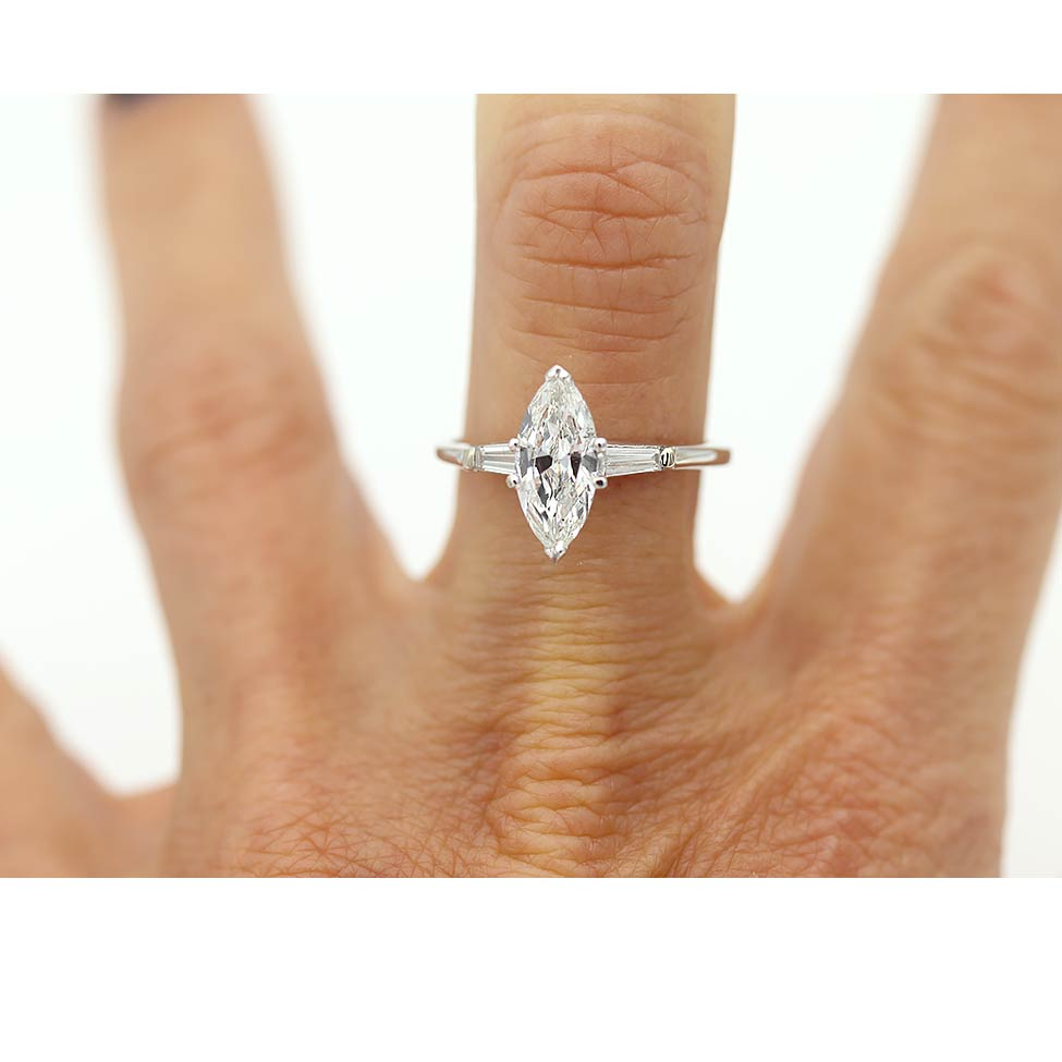 1.20 Carat GIA Vintage Marquis Diamond Engagement Ring