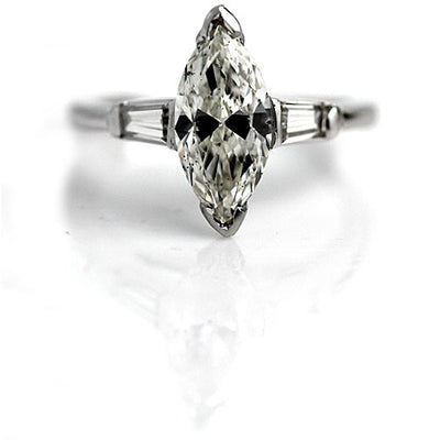 Marquis Diamond Engagement Ring with Baguettes