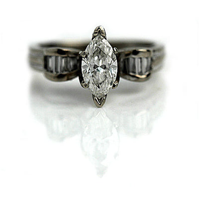 Vintage Marquis Diamond Engagement Ring with Baguettes