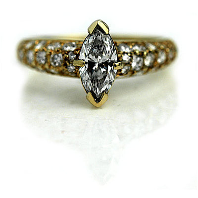 Vintage Marquis Diamond Engagement Ring in Yellow Gold