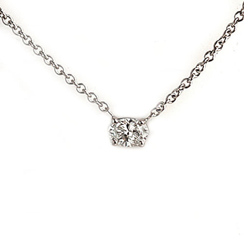 East West Oval Cut Diamond Necklace