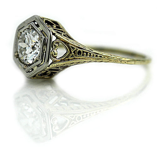 Art Deco .75 Carat Diamond Engagement Ring