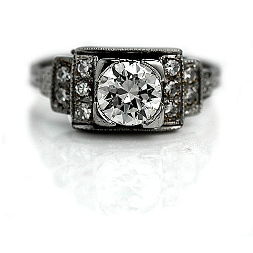 .77 Carat GIA Antique Platinum Engagement Ring