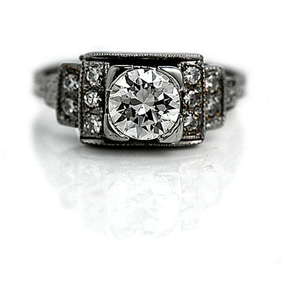 Antique Diamond Engagement Ring with Tiered Side Stones