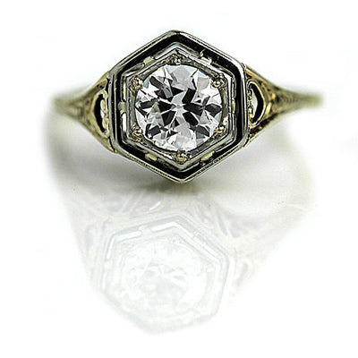 Art Nouveau Engagement Ring with Heart Motif