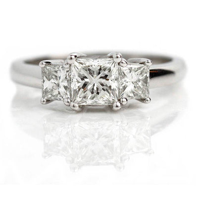 Vintage Three Stone Princess Cut Engagement Ring