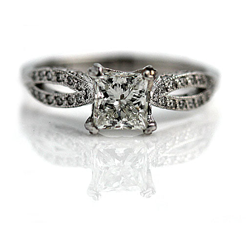 Estate Tacori Princess Cut .91 Carat GIA Diamond Ring