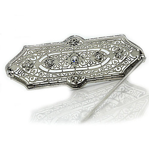 Art Deco Diamond Brooch Circa 1920's