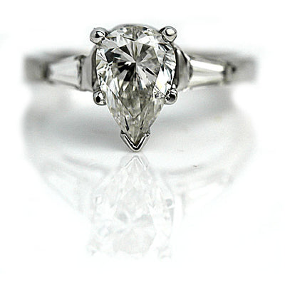 Vintage Pear Shape Diamond Engagement Ring