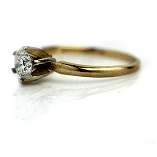Mid Century .48 Carat GIA Solitaire Engagement Ring