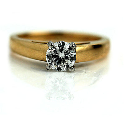 Vintage Wide Band Solitaire Engagement Ring