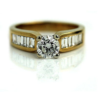 Vintage Yellow Gold Diamond Channel Set Engagement Ring