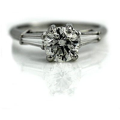 1.41 ct Round Cut Diamond Engagement Ring with Baguettes