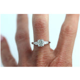 Vintage GIA 1.36 Carat Three Stone Radiant Cut Diamond Engagement Ring