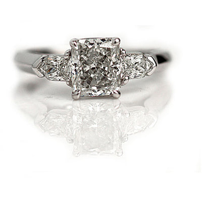 Radiant Cut Engagement Ring with Bullet Cut Diamonds