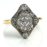 Two Tone Edwardian Open Faced Engagement Ring