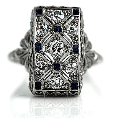 Vintage Diamond & Square Cut Sapphire Cocktail Ring