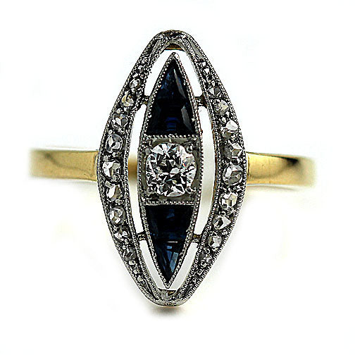 Art Nouveau Diamond Sapphire Engagement Ring