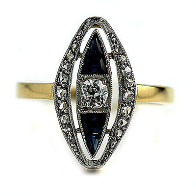 Art Nouveau Diamond & Sapphire Navette Shaped Engagement Ring - Vintage Diamond Ring