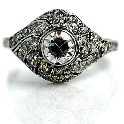 Art Deco .70 Carat Diamond Engagement Ring in Platinum