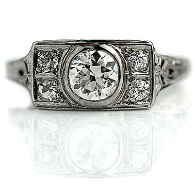 Unique Bezel Set Art Deco Engagement Ring