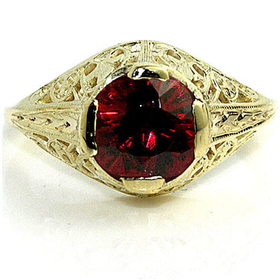 Yellow Gold Garnet Engagement Ring - Vintage Diamond Ring