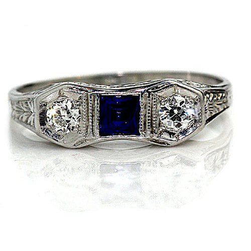 Three Stone Sapphire Engagement Ring with European Cut Side Stones