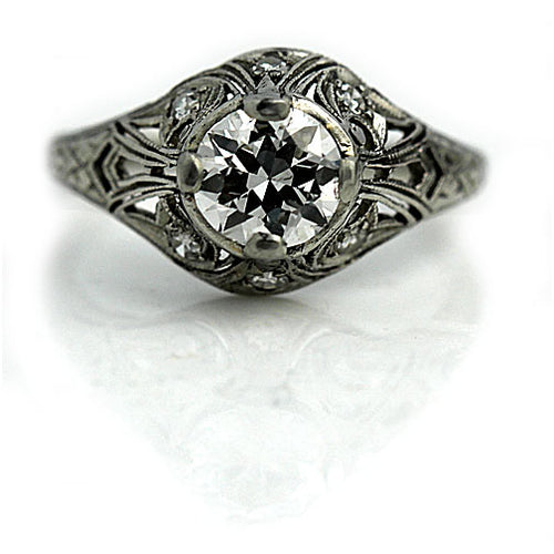 Art Deco Diamond Engagement Ring .85 Carat GIA I SI1