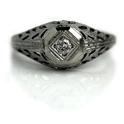Solitaire Diamond Engagement Ring with Filigree