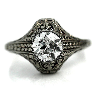 Vintage Engraved Solitaire Engagement Ring