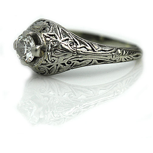 White Gold Solitaire Engagement Ring with Filigree Engravings