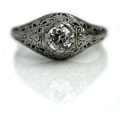 1930s Solitaire Engagement Ring with Filigree Engravings