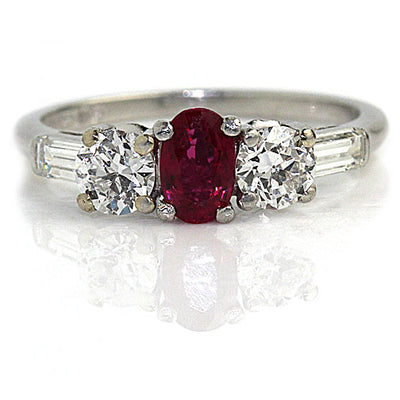 Vintage Ruby & Diamond Engagement Ring - Vintage Diamond Ring