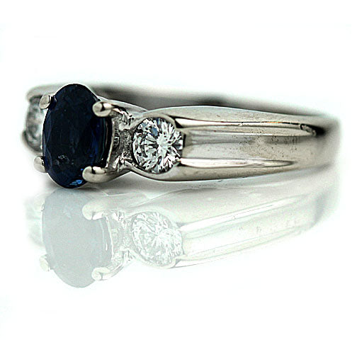 Ceylon Sapphire Engagement Ring with Diamond Side Stones