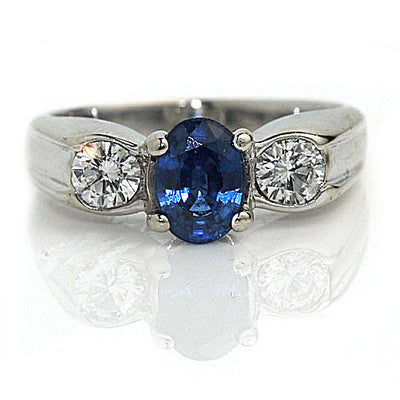 Ceylon Sapphire Engagement Ring with Diamond Side Stones - Vintage Diamond Ring