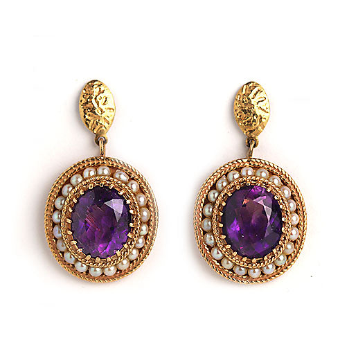 Victorian 14 Kt Amethyst and Pearl Earrings Curca Late 1800's