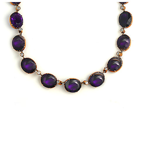 Vintage Amethyst and Diamond Rose Gold Necklace