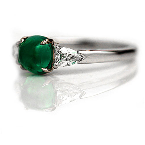 Cabachon Emerald & Diamond Engagement Ring